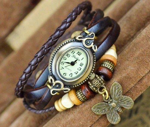 Kano Bak(Tm) Retro Bronze Women Ladies Weave Wrap Butterfly Pendant Leather Bracelet Bangle Quartz Gift Watch Brown