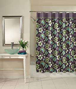 Bohemian Floral Green Plum Fabric Shower Curtain 72 W X 72 L