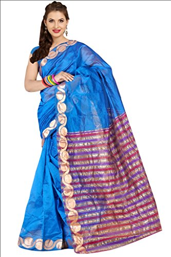 Parchayee Women Synthetic Sarees (94057A _Blue _Free Size)
