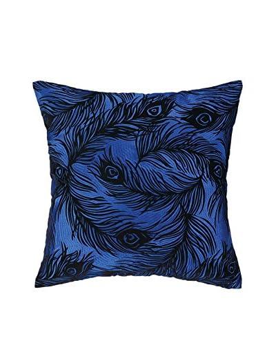 Nanette Lepore Villa Peacock Embroidered Pillow, Cobalt