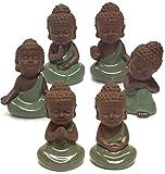 座禅 する 小さな 如来 ミニ型 愛らしい お釈迦 様 オブジェ かわいい 雑貨 置物 インテリア 陶器製 (6体セット)