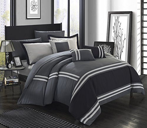 color block banding collection comforter set king grey bedroom