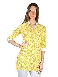 Panit Women's Cotton Kurta (PANI024B_Yellow_X-Large)