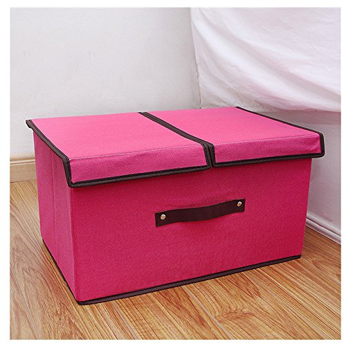 Gobuy Cotton Linen Large Capacity Collapsible and Stackable Storage Bin Box with Lid(Rose red) (Red Truck Moving Company compare prices)