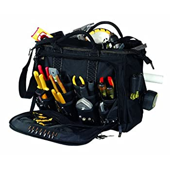 At a Glance...Large main inner compartment holds a variety of hand and power toolsLarge outer compartments with 18 pockets eachMain compartments close with heavy-duty, double-pull zippers7 exterior pockets, large carabiner, and measuring tape clipTex...