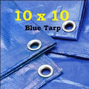 10′ X 10′ Premium Blue Multi-Purpose 6-mil Waterproof Poly Tarp Cover 10×10 Tent Shelter Camping Tarpaulin by Unique Imports