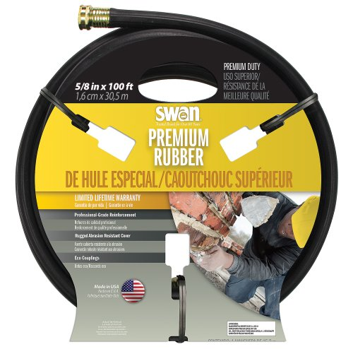 Swan Premium Rubber SNCPM58100 Heavy Duty 5/8-Inch by 100-Foot Black Water Hose (Black Rubber Garden Hose compare prices)