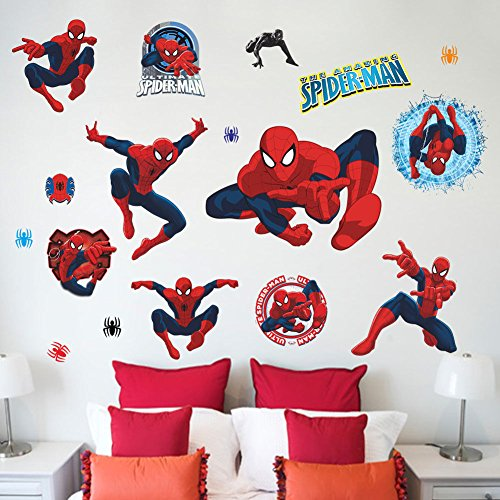 Removable Spider-man Super Hero Kids Boy Bedroom Sticker Home Decals Decor Mural