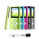 Goldenseller Mp3 / Mp4 Player, with 32GB Micro SD Card, Media Player, Portable Videos Player, Music Player, Voice Recording Player, Supporting MP3, WMA, JPEG and TXT files (Green)
