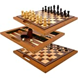 Deluxe Wooden Chess, Checker and Backgammon Set Brown