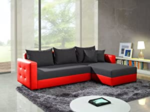 elegantes ecksofa mit bettfunktion bettkasten sofa couch ledersofa unschlagbar g nstig rot. Black Bedroom Furniture Sets. Home Design Ideas