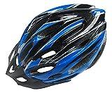 R-STYLE ロードバイクやスケボーに 軽量・サイズ調整付 流線型カラフル ヘルメット (ブルー×ブラック)