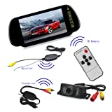 eSynic® Waterproof Wireless Car Rear View Reversing Camera + 7 Inches TFT LCD Mirror Monitor with IR Sensor Receiver Transmitter Support Night Vision
