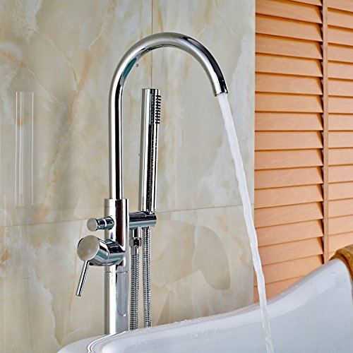 Votamuta New Chrome Polished Floor Mounted Bathtub Shower Faucets Set Free Standing Bathroom Shower Mixer Tpas with Handheld Spray (Bathroom Tub Free Standing compare prices)