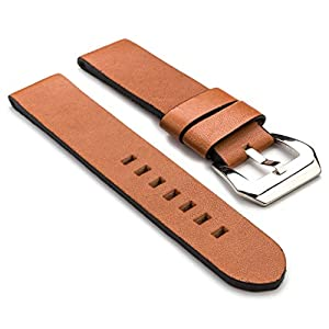 StrapsCo Tan Brown Thick Vintage Leather 22mm Watch Band