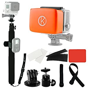 "CamKix Pole and Floater Bundle for GoPro Hero - Includes 1 Adjustable Telescopic Pole with 14"" - 40"" Extension / 2 Adjustable Straps to Attach Wifi Remote (remote not included) / 1 Float for GoPro Backdoor / Waterproof Velcro and Adhesive Attachments / Co"