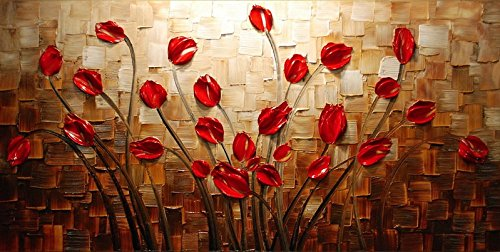wieco art budding flowers 100 hand painted modern canvas wall art
