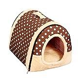 ペットハウス ドーム型 猫犬 室内用 折りたたみ式 ペットベッド 5種類 S,M,Lサイズ【Justgreat】 (S 35x30x28cm, ブラウン-ポルカドット)