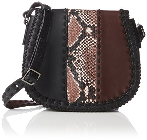 French Connection Rianne Whipstitch Cross Body,  Nero Black (Blk/Ptchwrksnk/Bordx)