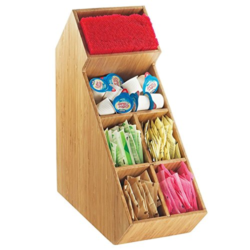 """Cal Mil 2052-60 Bamboo Stir Stick And Condiment Display With Removable Divider ? 5 1/2"""" X 13 1/4"""" X"""