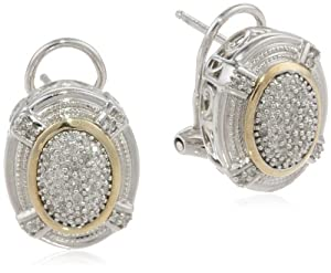 S&G Sterling Silver and 14k Yellow Gold Oval Pave Diamond Earrings (1/ 4 cttw, I-J Color, I3 Clarity)