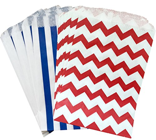 Outside the Box Papers Stripe and Chevron Treat Sacks 5.5 x 7.5 48 Pack Red, White, Blue (Red And White Popcorn Bags compare prices)