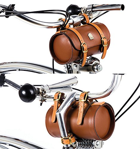Comfortable Soft Vintage Bicycle Saddle Tail Handlebar Tools Bag, Cylindrical, Handmade 5