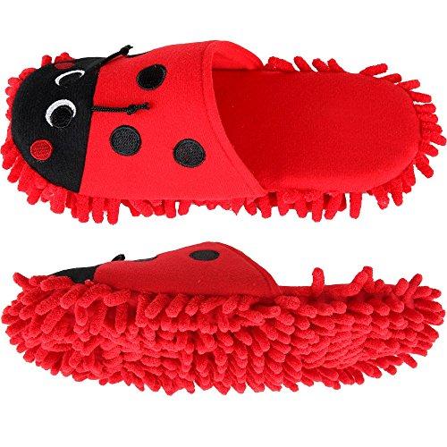 Home-X Ladybug Mircofiber Dusting Slippers (Medium)