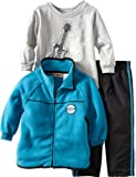 Kids Headquarters Boys 2-7 Winter Fleece Open Front Jacket With Long Sleeve Tee And Pant Set