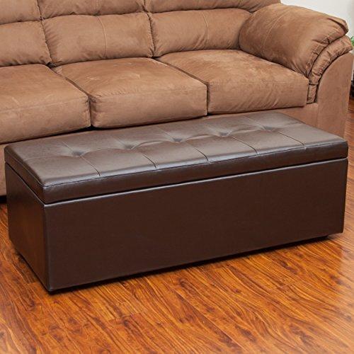 Pleasant Eldon Brown Leatherette Storage Ottoman Bench Cheapest Inzonedesignstudio Interior Chair Design Inzonedesignstudiocom