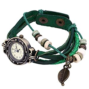 Liroyal Leaf Charm Women Ladies Weave Leather Belt Bracelet Watch Green