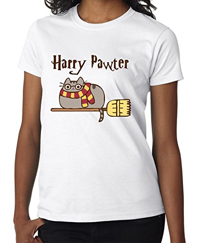 Pusheen Harry Potter Flying on His Broomstick Women DonnaWhite T-shirt