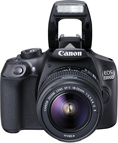 Canon EOS 1300D + EF-S 18-55 IS II Fotocamera Reflex Digitale, 18 Megapixel con Obiettivo, Wi-Fi, NFC, Nero