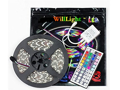 2 Days Delivery Willlight 16.4Ft 5050 300Leds Waterproof Ip67 Rgbw Led Strip Lights Kit , Rgb Led Flexible Lighting + 40Key Ir Remote Controller + 12V 5A Power Supply (5050Rgb-5M-300Led+44Key+Irc+Dc Cable)