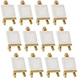 "US Art Supply Artists 3""x3"" Mini Canvas & Easel Set Painting Craft Drawing - Set Contains: 12 Mini Canvases & 12 Mini Easels"