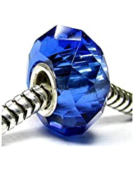 Simulated Sapphire Color Faceted Crystal Glass With 925 Sterling Silver Core Bead Fits Pandora Charm Bracelet