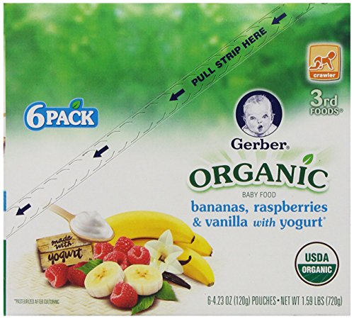 Gerber 3Rd Foods Organic Pouch Bananas, Raspberries And Vanilla With Yogurt, 6 Count front-262940