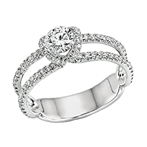 IGI Certified 14k white-gold Round Cut Diamond Engagement Ring (1.00 cttw, D Color, SI3 Clarity) - size 9