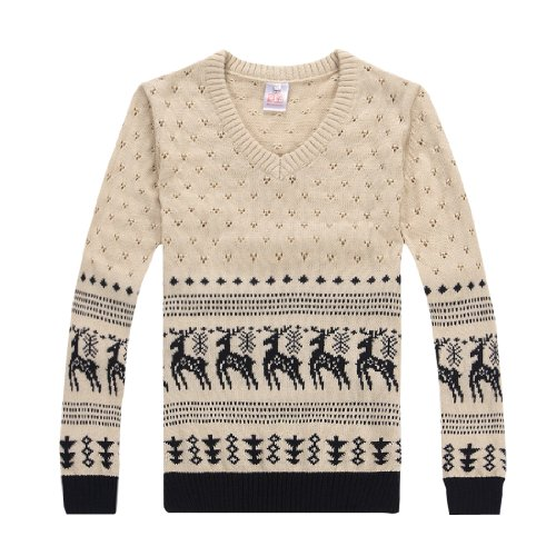 Allegra K Mens V Neckline Pullover Long Sleeve Trees Prints Sweater Beige S