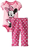 Disney Baby Girls Newborn Minnie Mouse Bodysuit and Pant Set, Pink, 0-3 Months