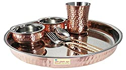 SHIV SHAKTI ARTS Stainless Steel & Copper Traditional Kitchen Dinner Set of 6 pieces 1 Plate Thali 2 Handi Bowls 1 Glass 1 Fork 1 Spoon