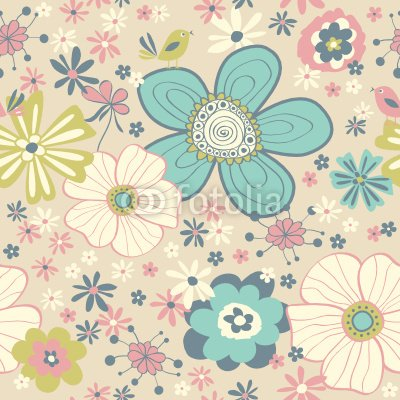 """Wallmonkeys Peel and Stick Wall Decals - Seamless Floral Pattern - 36""""H x 36""""W Removable Graphic"""