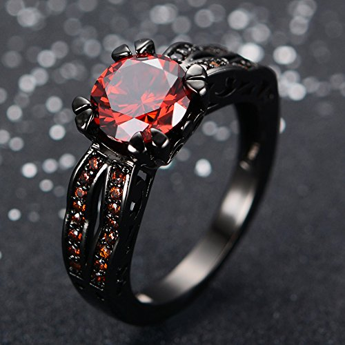 JunXin Black Gold 8MM Round Dark Red Ruby CZ Filled Solitaire Ring Engagement Size5/6/7/8/9/10/11(6)