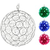 Hoont™ Outdoor Hanging Decorative Sparkling Crystals Gazing Ball with Solar Powered Color Changing LED Light - 6 Inch Diameter