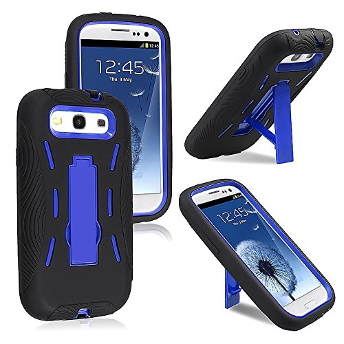 Blue Hard Case and Black Silicone Skin Dual Combo 2-in-1 with Kickstand / Kick Stand Snap-On Protective Cover Cell Phone for Samsung© Galaxy S 3 III / S3 / i9300 i-9300 (Blue Samsung Galaxy S3 compare prices)