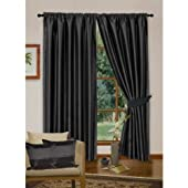 Black Luxury Faux Silk Curtains, Fully Lined with Tiebacks (Designer Collection) (66 x 90 inch (170cm x 229cm) drop) (Black)