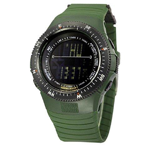 Zps(Tm) Luxury Military Stopwatch Sports Date Digital Light Silicone Men Wrist Watch (Army Green)