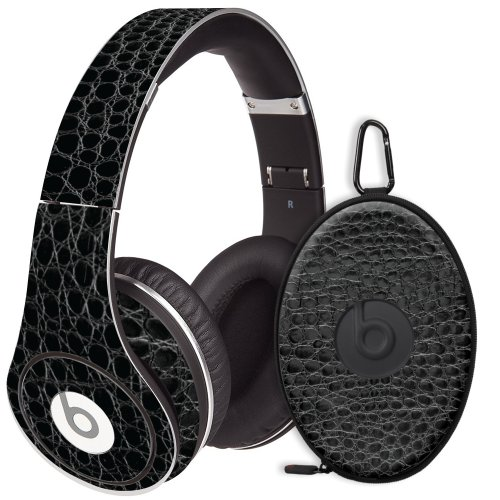 Textured Black Crocodile Decal Skin For Beats Studio Headphones & Carrying Case By Dr. Dre