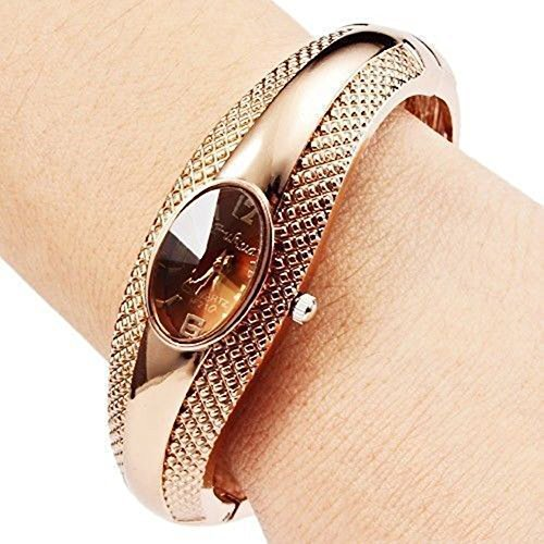 Soleasy Women's Girl's Fashion Golden Bracelet Bangle Crystal Wrist Watch WTH8050