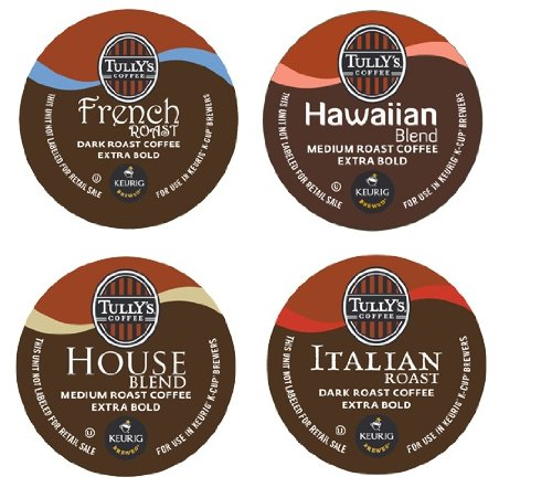 16 Count - Variety Pack of Tully's Coffee K-Cups for Keurig Brewers - Italian Roast, French Roast, House Blend, Hawaiian Blend